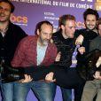 """Fanny Valette et l'équipe de la série """"Templeton"""" - 3e journée du 18e festival international du film de comédie de l'Alpe d'Huez, le 16 janvier 2015."""