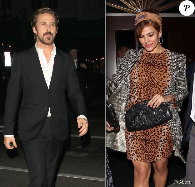 Ryan Gosling et Eva Mendes au théâtre à Beverly Hills le 17 janvier 2014, pour aller voir Don Rickers sur scène (photomontage)