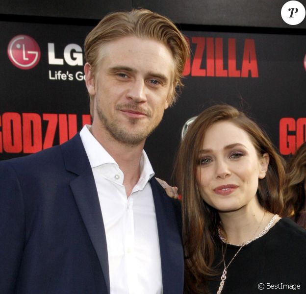 "Elizabeth (Lizzie) Olsen et son petit-ami Boyd Holbrook - Première du film ""Godzilla"" à Hollywood, le 8 mai 2014."