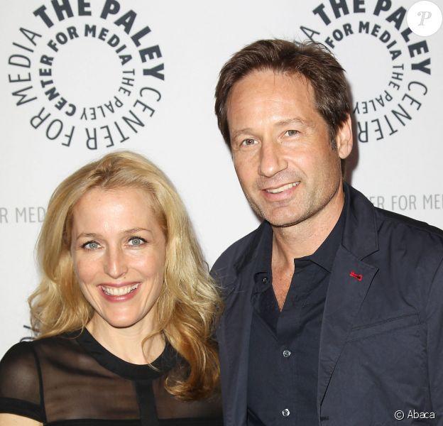 David Duchovny et Gillian Anderson lors de la soirée en l'honneur des 20 ans de la série X-Files au Paley Center à New York le 12 ocotbre 2013