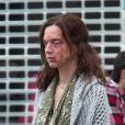 Exclusif - Odile Vuillemin, défigurée sur le tournage du téléfilm L'Emprise de Claude-Michel Rome avec Marc Lavoine, à Bruxelles en Belgique le 1er septembre 2014.