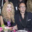 Pascal Obispo et sa compagne Julie Hantson au Dîner de la mode pour le Sidaction au pavillon d'Armenonville à Paris le 29 janvier 2015.
