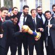 Les joueurs de l'équipe de France de handball à l'Elysée le 3 février 2015 après leur Mondial remporté au Qatar.