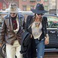 Johnny Depp et sa fiancée Amber Heard rentrent à leur hôtel à New York, le 21 avril 2014.