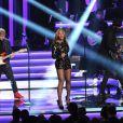 """Ed Sheeran, Beyoncé et Gary Clark Jr. se produisent au Nokia Theatre L.A. Live lors du concert """"Stevie Wonder: Songs In The Key Of Life - An All-Star Grammy Salute"""" en hommage à Stevie Wonder. Los Angeles, le 10 février 2015."""