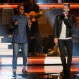 "Pharrell Williams et Ryan Tedder se produisent au Nokia Theatre L.A. Live lors du concert ""Stevie Wonder: Songs In The Key Of Life - An All-Star Grammy Salute"" en hommage à Stevie Wonder. Los Angeles, le 10 février 2015."