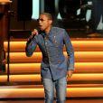 """Pharrell Williams se produit au Nokia Theatre L.A. Live lors du concert """"Stevie Wonder: Songs In The Key Of Life - An All-Star Grammy Salute"""" en hommage à Stevie Wonder. Los Angeles, le 10 février 2015."""