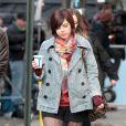 """Krysta Rodriguez - Tournage de la serie """"Smash"""" à New York, le 14 novembre 2012."""