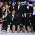 Abderrahmane Sissako (7 César dont Meilleur film et Meilleur réalisateur pour Timbuktu) et son équipe - 40e cérémonie des César au théâtre du Châtelet à Paris, le 20 février 2015.