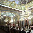 Le roi Felipe VI et la reine Letizia d'Espagne présidaient le 2 mars 2015 au palais du Pardo (Madrid) un dîner officiel en l'honneur du président de la Colombie Juan Manuel Santos et son épouse Clemencia, à l'occasion de leur visite d'Etat du 1er au 3mars 2015