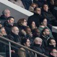 Louis Bertignac et sa compagne Laeticia, Sonia Rolland et son mari Jalil Lespert, Richard Anconina, Jean et Jessica Sarkozy, Pierre Sarkozy, Richard Anconina - People au quart de finale de la Coupe de France de football entre le PSG et l'AS Monaco (2-0) au Parc des Princes à Paris le 4 mars 2015.