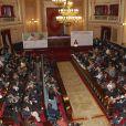 La reine Letizia d'Espagne assiste à une cérémonie au sénat pour la journée des maladies orphelines à Madrid. Le 5 mars 2015  Queen Letizia attends a ceremony the day of rare diseases in the Senate, in Madrid, on Thursday March 5, 201505/03/2015 - Madrid