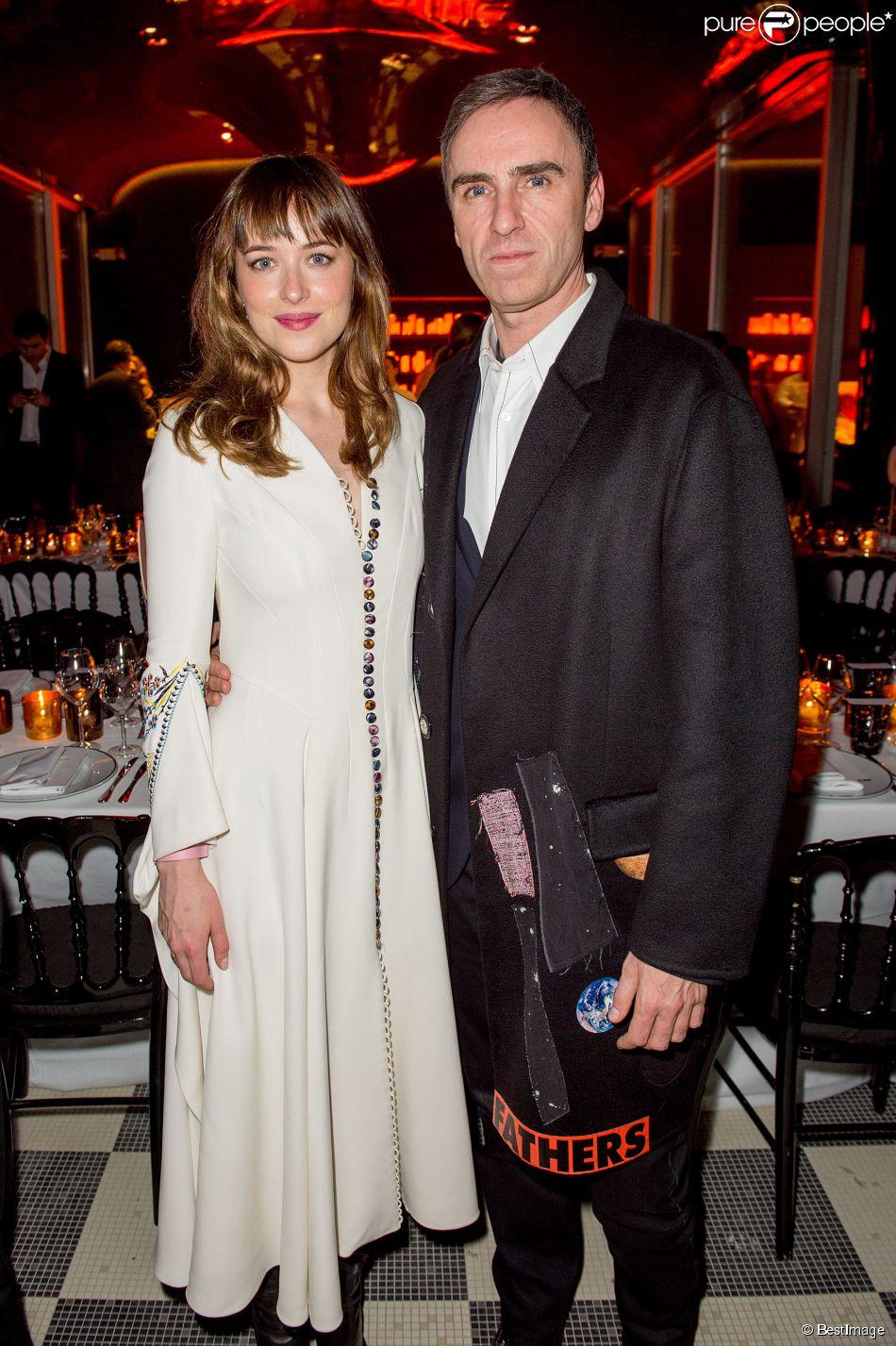 Dakota Jonhson et Raf Simons - Aftershow Christian Dior lors de l'inauguration de la discothèque Les Bains Douches à Paris. Le 6 mars 2015.