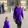 La princesse Estelle de Suède, 3 ans, célébrait avec sa maman la princesse héritière Victoria la fête du prénom Victoria, le 12 mars 2015, au palais royal à Stockholm.