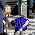 La princesse Estelle de Suède, 3 ans, a célébré avec sa maman la princesse héritière Victoria la fête du prénom Victoria, le 12 mars 2015, au palais royal à Stockholm.