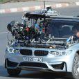 """Exclusif - Tom Cruise et Simon Pegg - Tom Cruise à bord d'une BMW tourne une scène du film """"Mission Impossible 5"""" à Rabat au Maroc le 25 septembre 2014."""