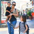 """Kim Kardashian et sa soeur Kourtney Kardashian emmènent leurs enfants North, Mason et Penelope au cinéma voir le film """"Home"""" à Calabasas, le 28 mars 2015  Please hide children face prior publication Reality star Kim Kardashian takes her daughter North to see the movie 'Home' in Calabasas, California on March 28, 2015. Kim was joined by her sister Kourtney and her kids Mason and Penelope. Kourtney, Mason and Penelope all wore matching striped shirts.28/03/2015 - Calabasas"""