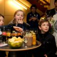 La princesse Louise et les princes jumeaux Nicolas et Aymeric accompagnaient leurs parents le prince Laurent et la princesse Claire de Belgique à la première de Song of the Sea, le 14 février 2015, à Anvers.