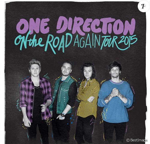 """Nouvelle affiche du groupe One Direction pour la promotion de leur tournée """"On The Road Again Tour 2015"""" à New York, le 9 avril 2015."""