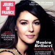 Monica Bellucci en couverture du n°8 de Jours de France, en kiosques ce 16 avril 2015.