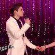 Hiba Tawaji et David Thibault, dans  The Voice 4  (demi-finale), le samedi 18 avril 2015 sur TF1.