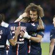 David Luiz, Lucas Moura, Gregory van der Wiel - Match de Ligue 1 PSG-Metz lors de la 32ème journée au Parc des Princes à Paris, le 28 avril 2015