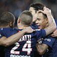 Marco Verratti, Edinson Cavani - Match de Ligue 1 PSG-Metz lors de la 32ème journée au Parc des Princes à Paris, le 28 avril 2015.