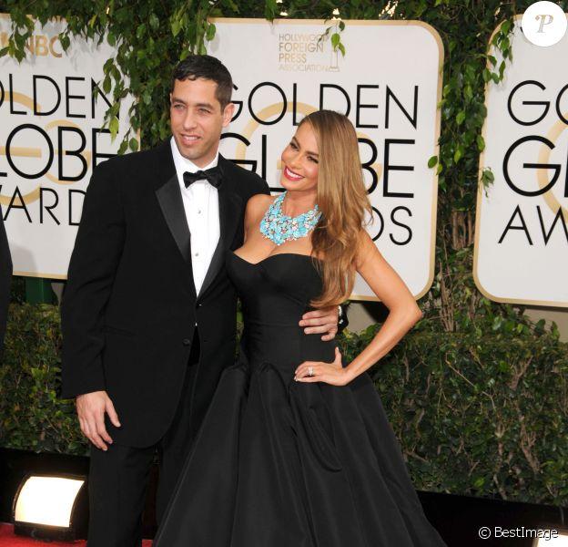 Sofia Vergara et son compagnon Nick Loeb - 71eme ceremonie des Golden Globe Awards au Beverly Hilton Hotel a Beverly Hills, le 12 janvier 2014.