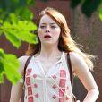 Emma Stone sur le tournage prochain du film de Woody Allen à Newport, Rhode Island, le 6 août 2014.