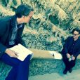 Le scénariste David Koepp dans les grottes avec Tom Hanks sur le tournage d'Inferno. (photo postée le 20 avril 2015).