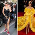"""""""Rihanna, détendue en journée et transformée pour le Met Gala 2015. New York, le 4 mai 2015."""""""