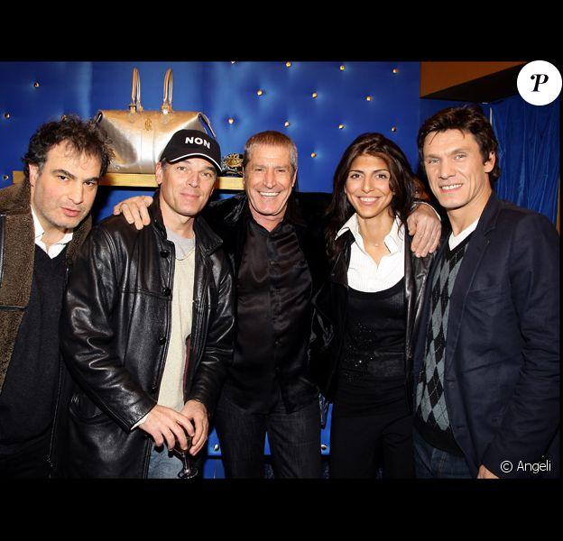 Raphaël Mezrahi, Laurent Baffie, Jean-Claude Damon et sa fiancée Hoda et Marc Lavoine à l'ouverture de la boutique Christian Audigier à Paris
