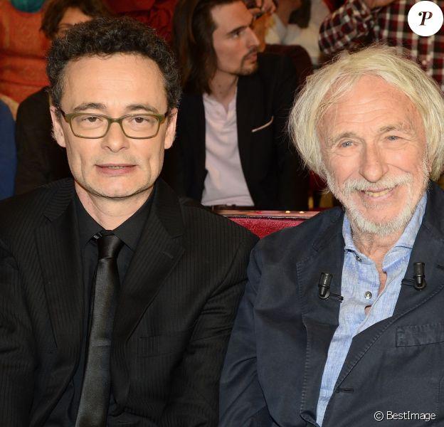 """Pierre Richard et son fils Olivier Defays - Enregistrement de l'émission """"Vivement Dimanche"""" à Paris le 6 avril 2015 et qui est diffusée le 10 mai 2015."""