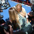 Long baiser entre Nico Rosberg et son épouse Vivian, enceinte, à l'issue du Grand Prix d'Espagne sur le circuit de Catalogne, le 10 mai 2015