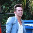 Jonathan Rhys-Meyers avec sa future fiancée à West Hollywood, Los Angeles, le 23 août 2014.