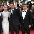 """Denis Villeneuve, Emily Blunt, Benicio Del Toro, Josh Brolin - Montée des marches de l'équipe du film """"Sicario"""" lors du 68e Festival International du Film de Cannes le 19 mai 2015"""