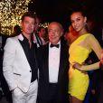 Fawaz Gruosi entre Robin Thicke et sa compagne April Love Geary lors de la soirée de Grisogono à l'hôtel du Cap-Eden-Roc au Cap d'Antibes lors du 68e Festival International du film de Cannes le 19 mai 2015