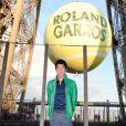 Kei Nishikori lors de la soirée des joueurs de Roland-Garros, le 21 mai 2015 au premier étage de la Tour Eiffel à Paris