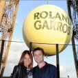 Fabrice Santoro et sa compagne lors de la soirée des joueurs de Roland-Garros, le 21 mai 2015 au premier étage de la Tour Eiffel à Paris