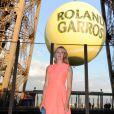 Maria Sharapova lors de la soirée des joueurs de Roland-Garros, le 21 mai 2015 au premier étage de la Tour Eiffel à Paris