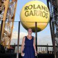 Pauline Parmentier lors de la soirée des joueurs de Roland-Garros, le 21 mai 2015 au premier étage de la Tour Eiffel à Paris