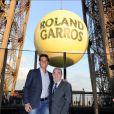 Rafael Nadal et Jean Gachassin lors de la soirée des joueurs de Roland-Garros, le 21 mai 2015 au premier étage de la Tour Eiffel à Paris