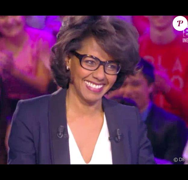 Bertrand Chameroy a reçu Audrey Pulvar sur le plateau de son prime Le journal de Bertrand Chameroy. L'animateur a dragué la journaliste. Le 28 mai 2015.