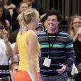 Rory McIlroy et Caroline Wozniacki lors d'une exhibition au Madison Square Garden à New York le 5 mars 2012. Après près de 3 ans de relation, le couple a décidé en mai 2014 de se séparer alors qu'il se préparait à se marier.