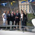 Le prince Albert II de Monaco est accueilli par François Hollande à l'ouverture des débats du Forum méditerranéen sur le climat à la Villa Méditerranée à Marseille, le 4 juin 2015.