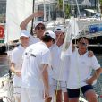 """Pierre Casiraghi et son équipe """"Gin Tonic"""" - Andrea Casiraghi et son frère Pierre participent à """"Sail for a Cause"""", une journée caritative co-organisée par Leticia de Massy et le réseau féminin LeSpot.net au Yacht Club de Monaco le samedi 6 juin 2015."""