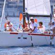 """Pierre Casiraghi et son équipe participent à """"Sail for a Cause"""", une journée caritative co-organisée par Leticia de Massy et le réseau féminin LeSpot.net au Yacht Club de Monaco le samedi 6 juin 2015."""