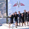 """Andrea Casiraghi et son équipe participent à """"Sail for a Cause"""", une journée caritative co-organisée par Leticia de Massy et le réseau féminin LeSpot.net au Yacht Club de Monaco le samedi 6 juin 2015."""