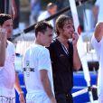 """Louis Ducruet, le fils de la Princesse Stéphanie, Andrea Casiraghi et son frère Pierre participent à """"Sail for a Cause"""", une journée caritative co-organisée par Leticia de Massy et le réseau féminin LeSpot.net au Yacht Club de Monaco le samedi 6 juin 2015."""