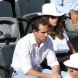 Renaud Lavillenie et sa compagne Anaïs Poumarat lors de la finale masculine des Internationaux de France à Roland-Garros le 7 juin 2015 à Paris